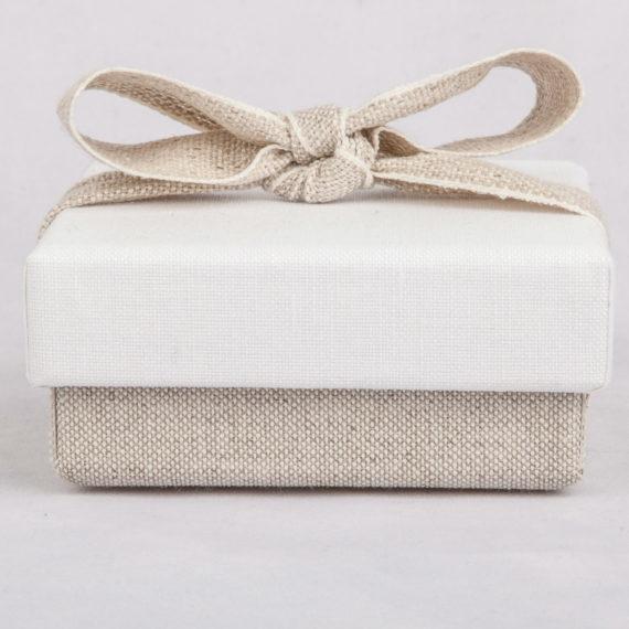 Scatola fondo coperchio in lino bicolore