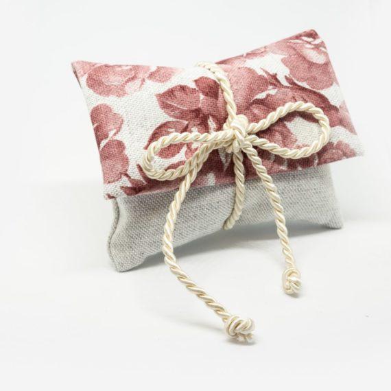 Pochette in lino modello rose
